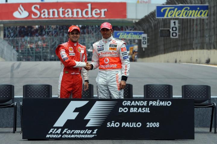 Felipe Massa i Lewis Hamilton przed GP Brazylii 2008