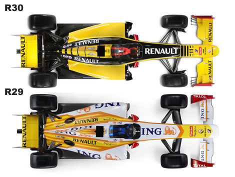 Porównanie bolidu Renault R29 i R30